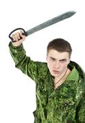 Military Man Attack With Knife Stock Photos