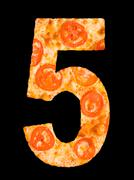 numeral 5 cut out of tomato pizza - stock photo