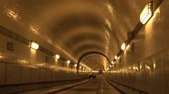 ULTRA HD 4K Hamburg Elbe passage tunnel passageway footpath alight transit walk Stock Footage