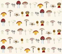 seamless pattern with mushrooms - stock illustration