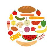 Foods in circle Stock Illustration