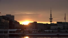 ULTRA HD 4K Beautiful sunset sunrise Hamburg cityscape ferry boat port lake day Stock Footage