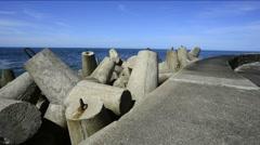 Ustka, Poland, Baltic Sea, wavebreaker Stock Footage