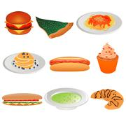 Collection of different foods Stock Illustration