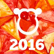 Vector  aquarelle fire monkey of 2016 year - stock illustration