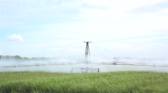 Agriculture crop Irrigation over a wheat field - stock footage