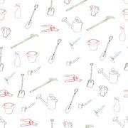 garden equipment seamless pattern - stock illustration