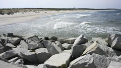 Baltic Sea in Poland, beach of Ustka Stock Footage