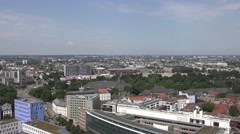ULTRA HD 4K Aerial view Hamburg skyline traffic street panorama landmark daytime Stock Footage