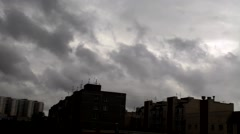 Black clouds over city Stock Footage