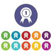 First place icon set - stock illustration