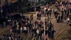 People walking on a city street Stock Footage