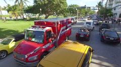 Ambulance Arrives on Scene Aerial Stock Footage