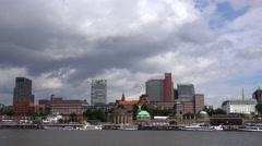 ULTRA HD 4K Timelapse cruise ship transportation Hamburg port emblem skyline day Stock Footage