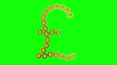 Golden gears - Pound sign, 4K. Seamless loop, green screen. Stock Footage