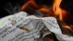 Slow Motion. The text and letter on fire Stock Footage