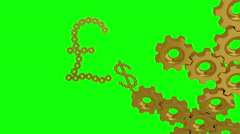 World currency signs 4K. Seamless loop, green screen. Stock Footage