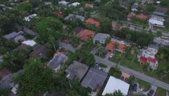 Aerial LEaving House Pulling Away to Reveal Skyline Stock Footage