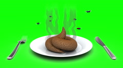 Poop on a Plate. 3D animation in cartoon style. Green screen, loopable. Stock Footage