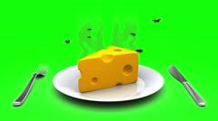 Cheese on a Plate. 3D animation in cartoon style. Green screen, loopable. Stock Footage