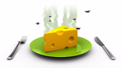 Cheese on a Plate. 3D animation in cartoon style. Alpha channel, loopable. Stock Footage