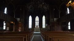 Traditional evangelic church inside zoom Harz village Braunlage Stock Footage