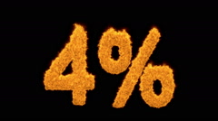 4 percent in flaming golden numerals Stock Footage