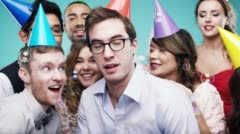 Multi racial group of happy people dancing with bubbles slow motion party photo - stock footage