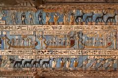 Hieroglyphic carvings in ancient egyptian temple Stock Photos