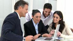 Happy business team working Stock Footage