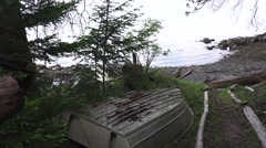 Orcas Island coastline, Aluminum boat Stock Footage