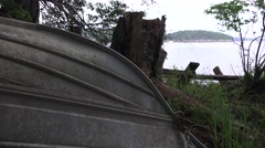 Pacific Ocean past keel of boat Stock Footage