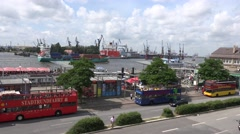 ULTRA HD 4K Aerial view Hamburg old port cargo cruise traffic street double deck Stock Footage