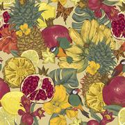 Vintage Seamless Background, Tropical Fruit, Flowers, Butterfly and Birds - stock illustration