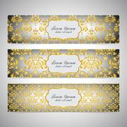 Collection horizontal banners in the style of Baroque . Modern Vector Piirros