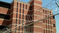 Jail with Razor Wire Stock Footage