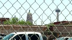 San Antonio behind Jail Fence Stock Footage