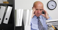 Busy Overworked Accountant Tired Person Stressed Think Headache Problem Deadline Stock Footage