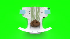 Smelly Diaper. 3D animation in cartoon style. Green screen, loopable. Stock Footage