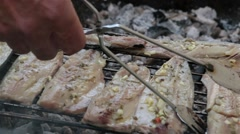 Fish Fillets On Charcoal Grill, BBQ, Fish Grilled On Fire, Close Up Stock Footage
