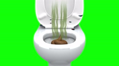 Poop in the Toilet.  3D animation, green screen, loopable. - stock footage