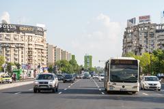 Rush Hour Traffic In Bucharest Stock Photos