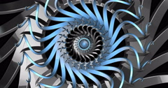 Mechanical Visual Wheel Backdrop Rotate Blue Silver Stock Footage