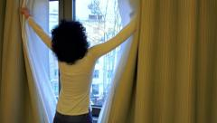 4k Desparate sad girl farewell near window thinking about something. UHD  sto Stock Footage