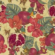 Stock Illustration of Vintage Seamless Background, Tropical Fruit, Flowers, Butterfly and Birds