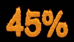 45 or forty-five percent written with fire fonts Stock Footage