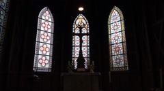 Church Jesus cross on altar in Harz village Braunlage Stock Footage
