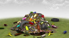 Garbage Monster. 3D animation. Stock Footage