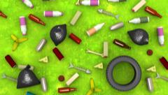 Environmental pollution. 3D animation in cartoon style, loopable. Stock Footage