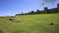 Medieval city wall built in the Romanesque style, Avila - stock footage